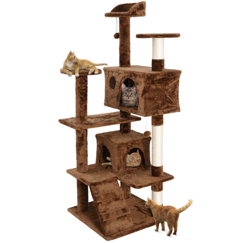 """53"""" Cat Tree Tower Activity Center Large Playing House Condo For Rest Brown"""