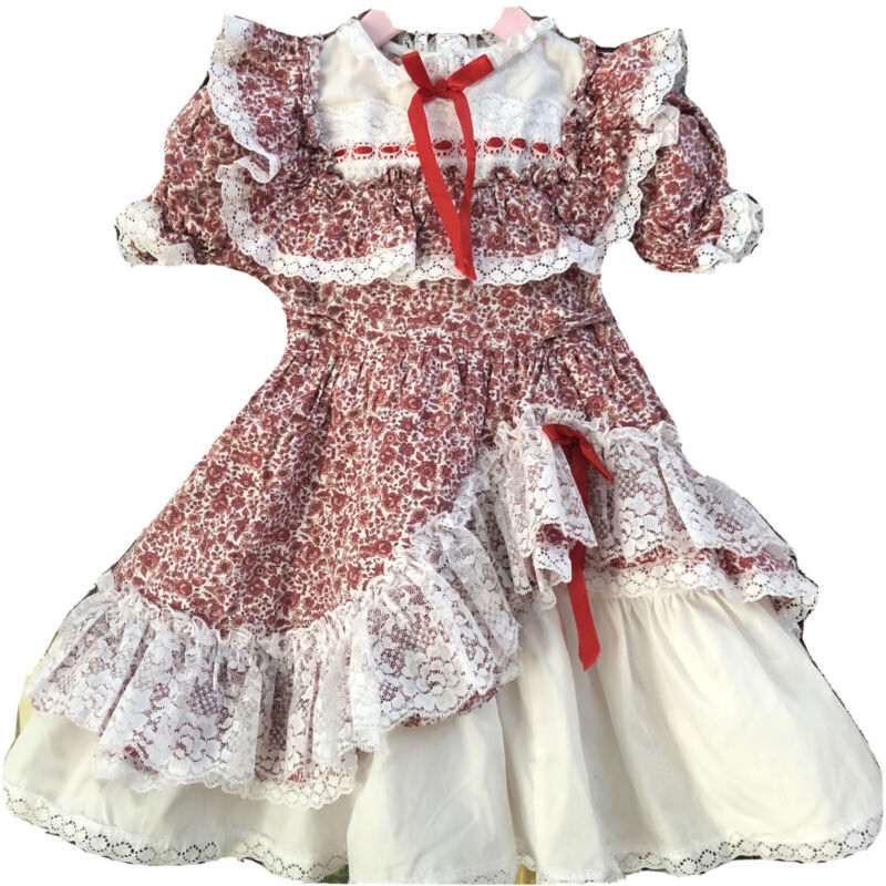 Vintage Toddler Dress Lace Ruffles Full Circle Twirl Pageant 2T