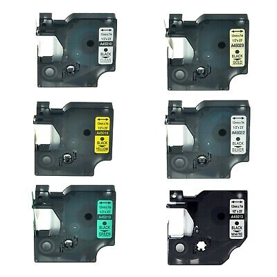 6pk 45010 45013 45018 45019 45022 45023 Label Tape For Dymo D1 Lm 150 12mm 12