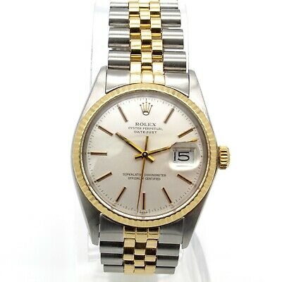 VINTAGE ROLEX DATEJUST 16030 JUBILEE BAND 18K YELLOW GOLD STAINLESS NR #W1750-1