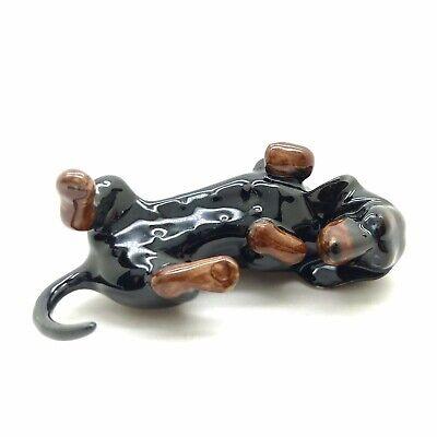 Black Dachshund Dog Ceramic Figurine Animal Statue Lying on Back - CDG029