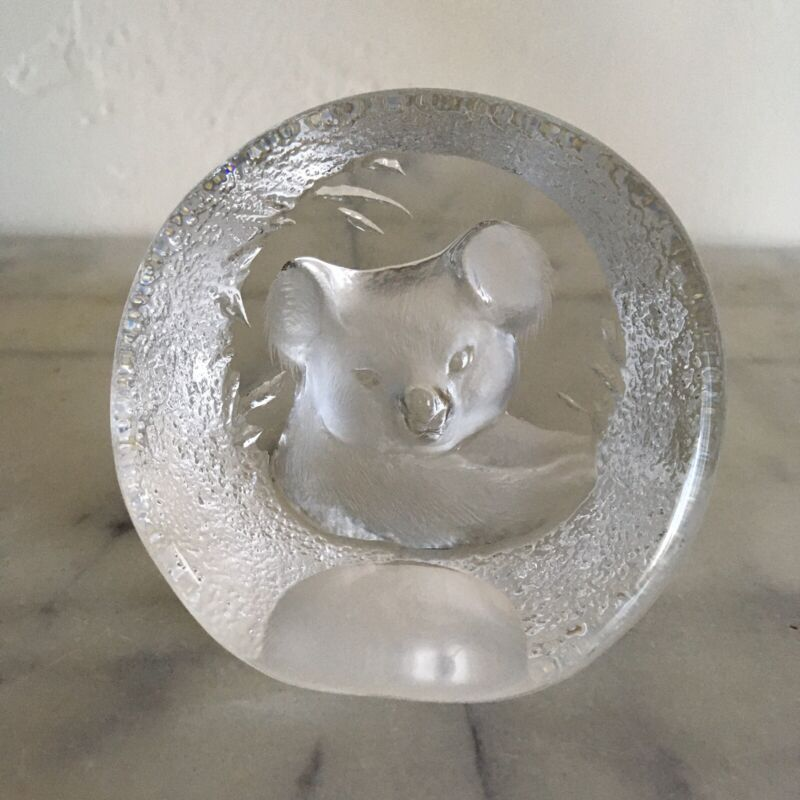 Paperweight Reverse Display Clear Glass Carved Mold Art Koala Signed Numbered
