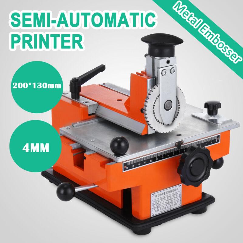Semi-Automatic Sheet Embosser Nameplate Metal Stamping Printer Mark Machine 4mm