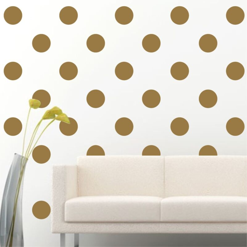 """100 of 4"""" Gold Polka Dots Circle Removable Peel Stick Wall Vinyl Decal Sticker"""
