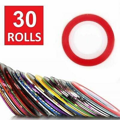 30Pcs Mixed Colors Rolls Striping Tape Line DIY Nail Art Tips Decoration Sticker Health & Beauty