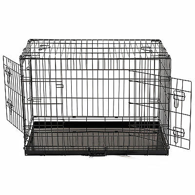 24'' 2 Doors Wire Folding Pet Crate Dog Cat Cage Metal Kennel Playpen Portable