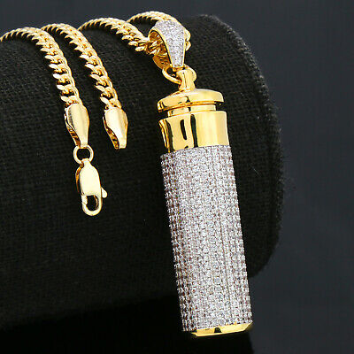 14k Gold Plated Fully Cz Cylinder Stash Container Pendant 30