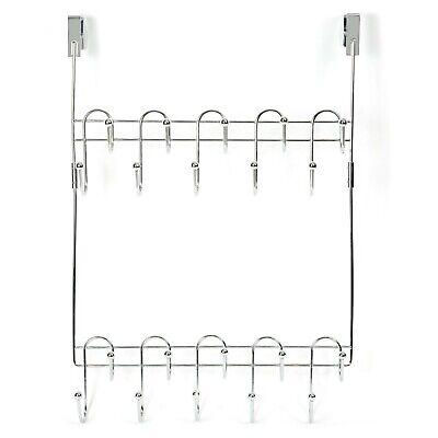 DoorShroom® Over the Door Clothing Hanger - Dual Row 20 Hook Modular Rack Chrome