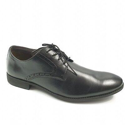 Clarks Chart Walk Mens Black Lace Up Flats Leather Smart Size UK 9.5 EU 44 Fit G (Standard Size Chart)