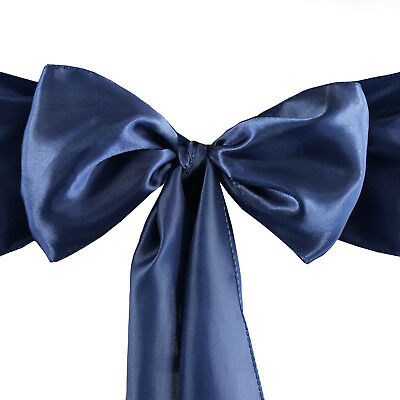 10 Navy Blue Satin CHAIR SASHES Ties Bows Wedding Party Reception - Navy Blue Wedding