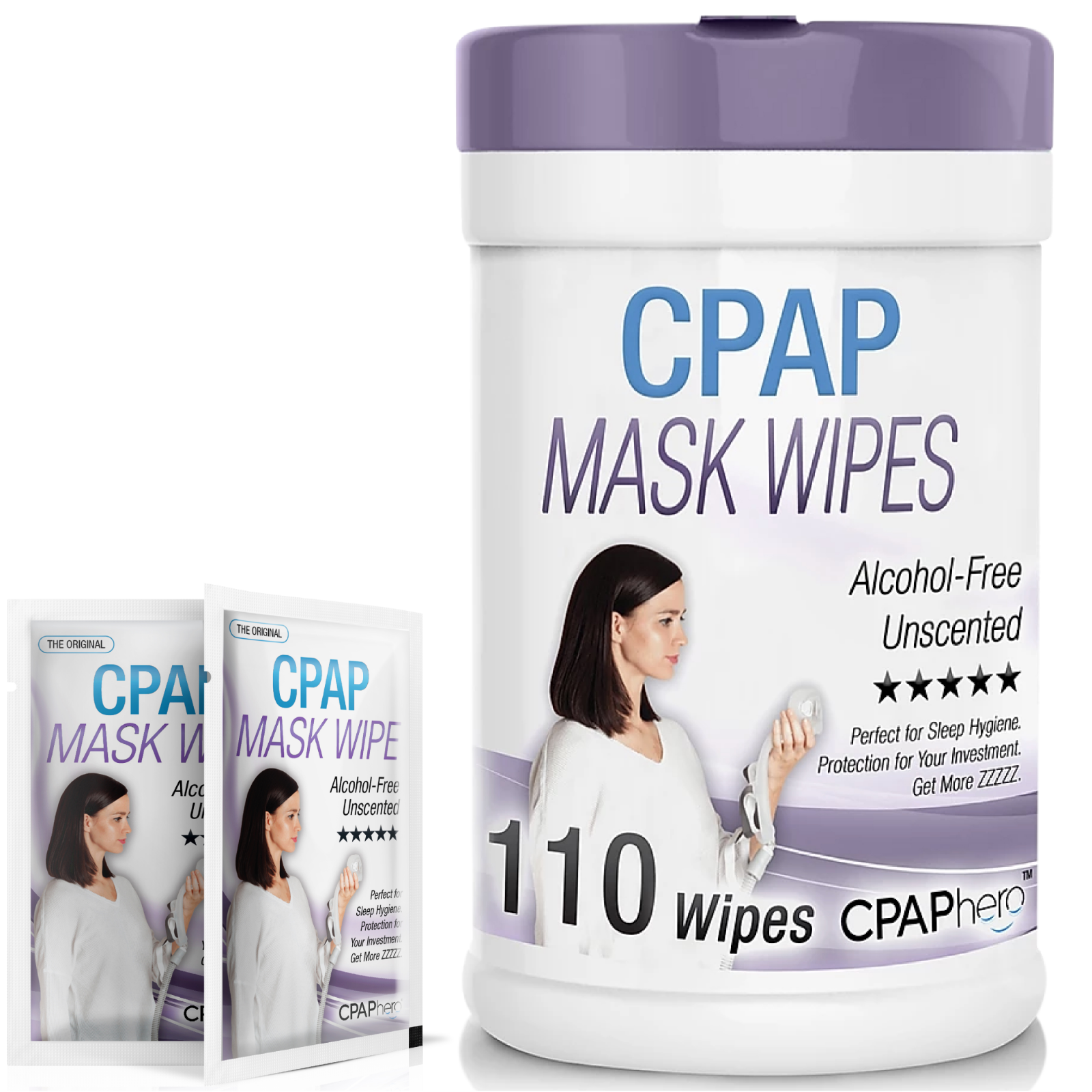 1x 110 Pack Bottle CPAP Mask Wipes - Alcohol-Free and Unscen
