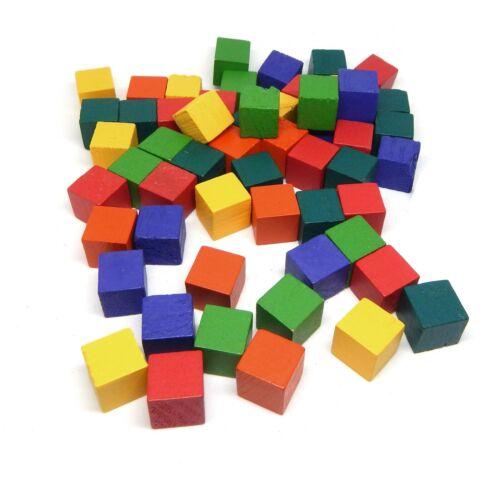 "Colored Wooden Cube Blocks Arts & Crafts Preschool Project 5/8"" x 5/8"", 50-Piece"