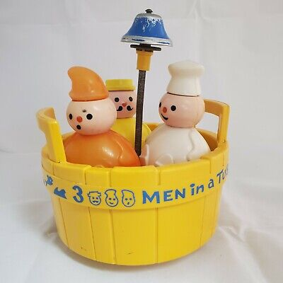 VINTAGE 1970 FISHER PRICE 3 MEN IN A TUB BATH TOY #142, BELL WORKS, USA