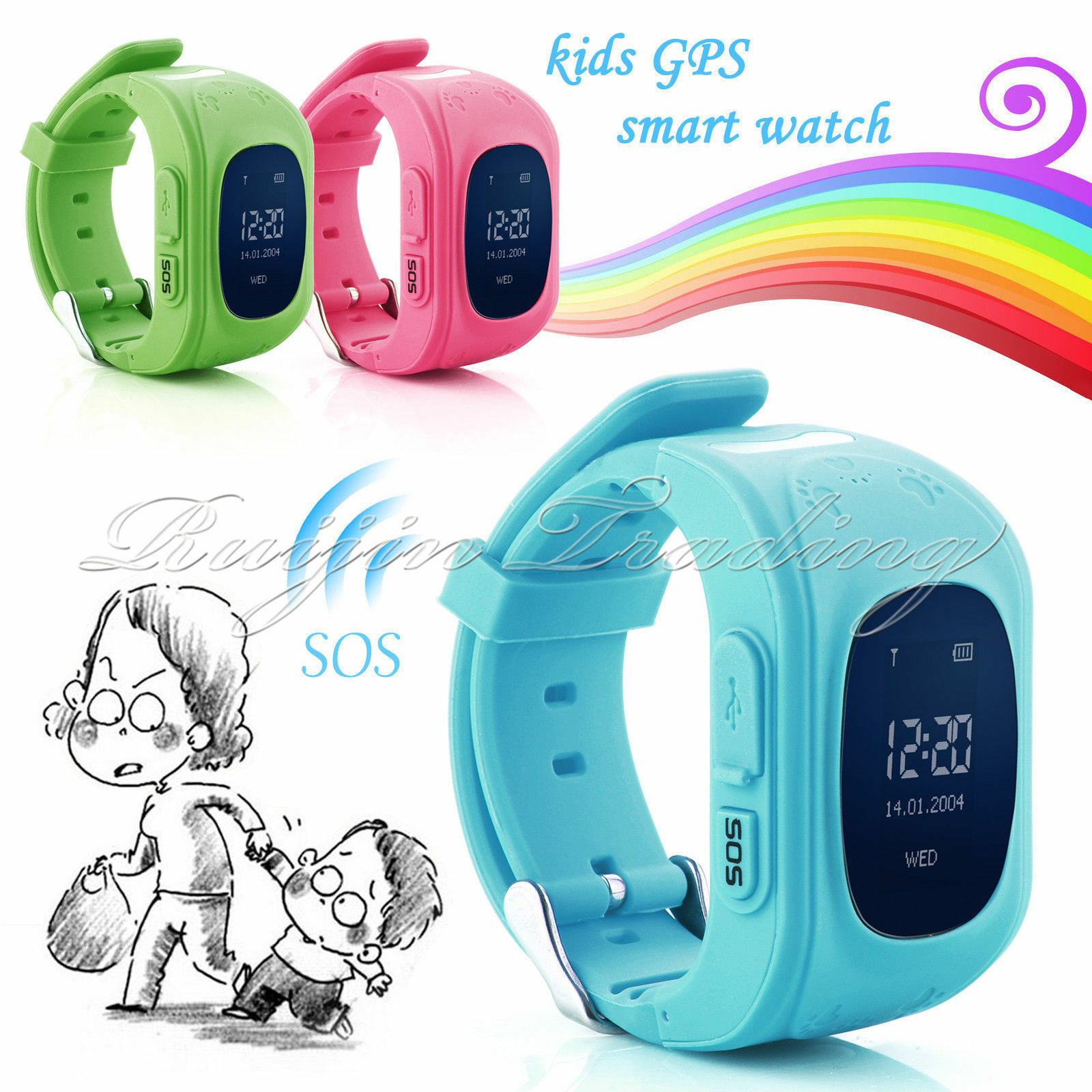 GPS LBS Activity Tracker Smart Kids Safe Watch SOS Call SIM Children Anti-Lost