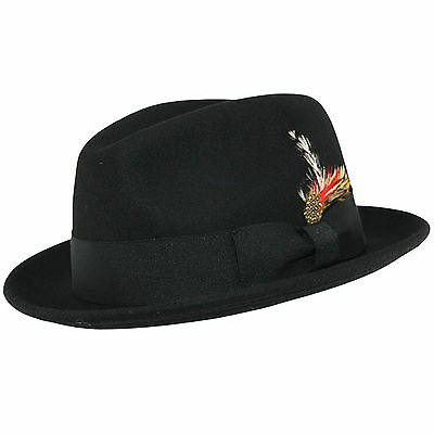 Crushable C-Crown 100% Wool Felt Fedora Trilby Hat With Removable Feather (Felt Hat With Feather)