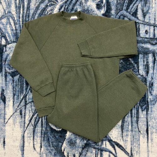 Vtg Blank Sweatshirt Sweatpants Full Set 80s 90s Mens Medium Green FOTL