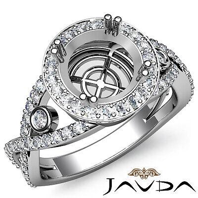 1.40Ct Double Prong Diamond Engagement Ring Round Semi Mount Halo Pave Setting ()