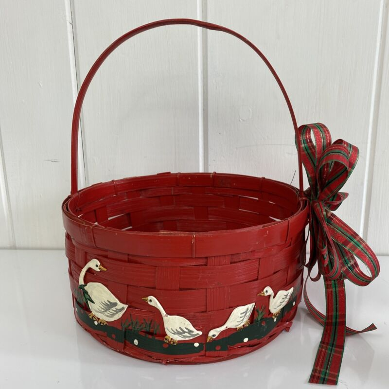 Vintage Red Basket Woven Geese Duck Wood Handle Christmas Decoration Farmhouse