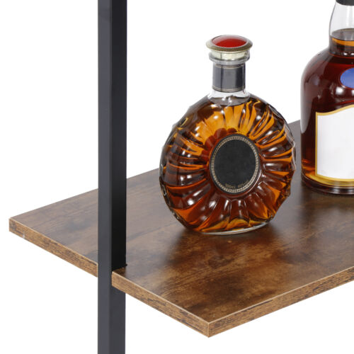 4-Shelf Bookcase Floating Wall Mount Shelves with Natural Wood  Metal Frame Bookcases & Shelving