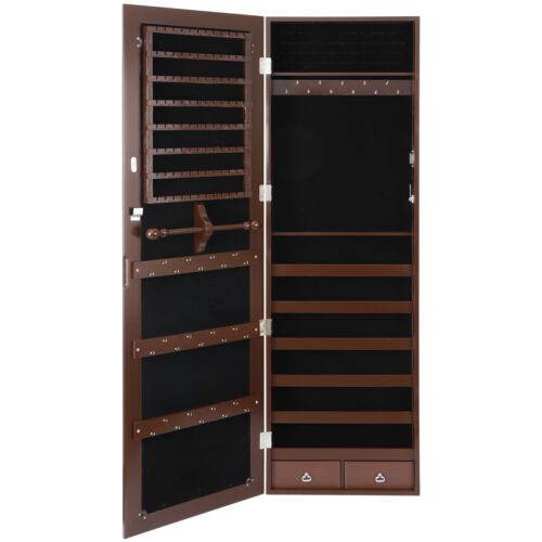 Brown Jewelry Cabinet Armoire Jewelry Box Organizer w/ Mirror Wall/ Door Mounted Jewelry & Watches