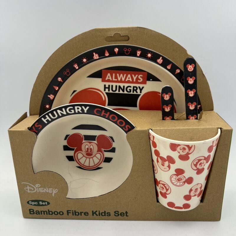 Disney Mickey Mouse Bamboo Fibre Kids 5-piece Meal Set - NEW