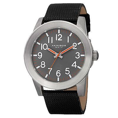 New Men's Akribos XXIV AK779SSB Swiss Easy-to-Read Grey Dial Canvas Strap Watch