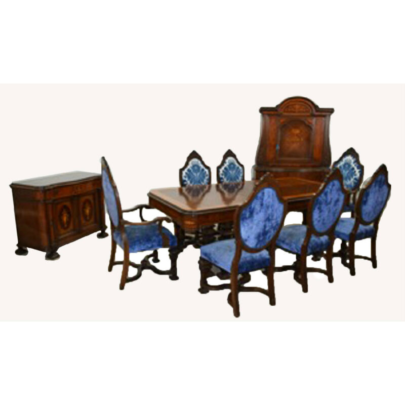 European Early 20th C Inlaid Dining Suite with Carved Details #7783
