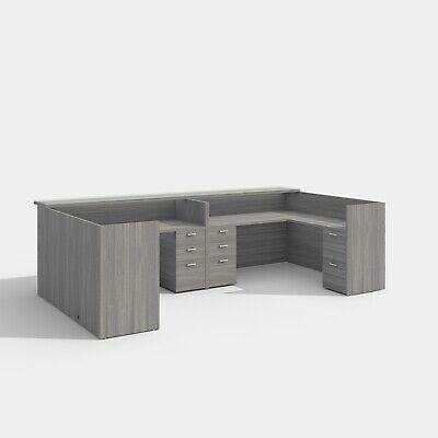 U Shape Reception Desk Configuration In Valley Grey Finish