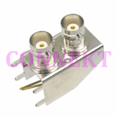 1pc BNC double female right angle Panel mount Audio Connectors PCB Solder