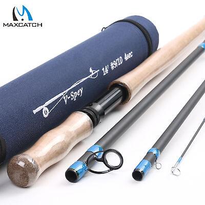 Maxcatch Spey/Switch Fly Rod 6/7/8/9/10WT 4/6Sec Two-handed Fishing Rod W/ -