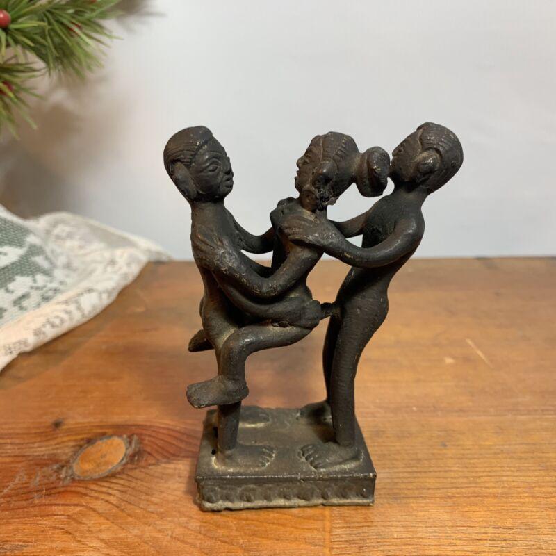 Vintage Erotic Threesome Figure Kama Sutra Metal Sculpture