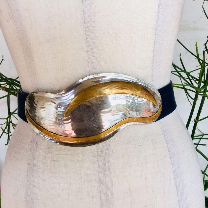 1980s 90s Brass Silver Wide Buckle Belt Vintage Women's Brutalist Boho Sz M L