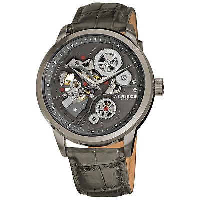 New Men's Akribos XXIV AK538GY Gunmetal Automatic Skeleton Leather Strap Watch
