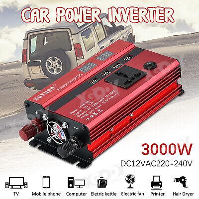 Spannung Strom Wandler (3000W Wechselrichter Spannungswandler 4 USB AC 12V auf DC 220V Stromerzeugung 1E)