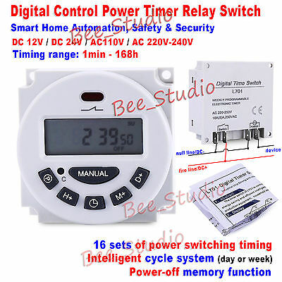 DC 12V 24V AC 110V 220V Digital LCD Programmable Cycle Clock Timer Relay Switch