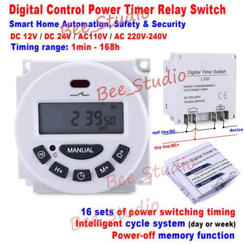 DC 12V 24V AC 110V 220V Digital LCD intelligent Cycle Clock Timer Relay Switch