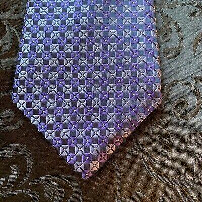 Ike Behar Men's Silk Necktie Purple Black Lavender Classic