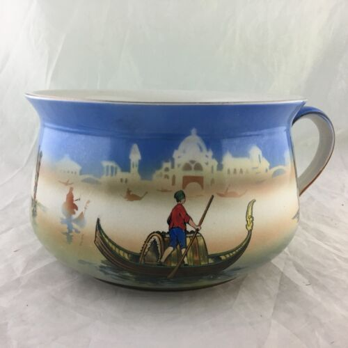 ANTIQUE CHAMBER POT GONDOLA ITALY SCENIC RARE POTTERY
