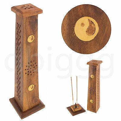 Räucherturm Sheesham Holz konisch - Yin Yang - Räucherstäbchen - Kegelhalter