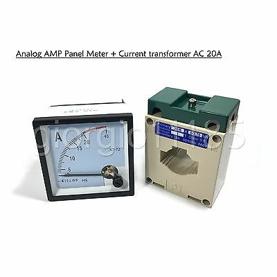 US Stock AC 0 ~ 20A Analog AMP Current Panel Meter Ammeter & Current Transformer ()
