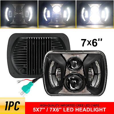 "Black H5054 H6054 7x6"" 5x7"" LED Headlight for Jeep Wrangler YJ Cherokee XJ Ford"