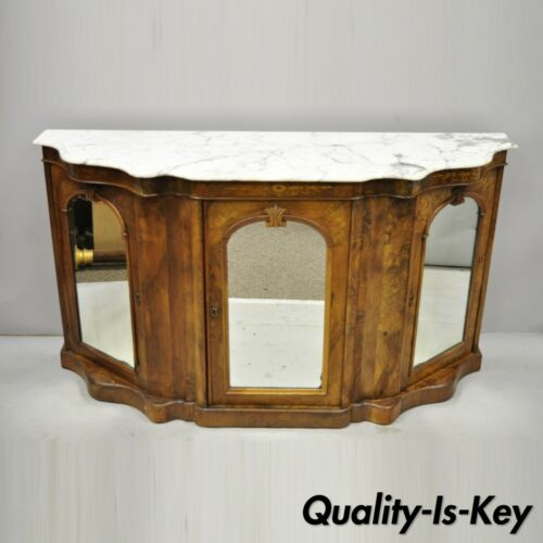 Antique Victorian Burr Wood Walnut Serpentine Marble Top Sideboard Credenza