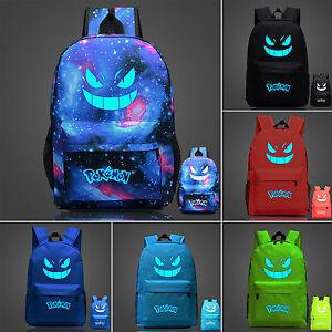 Pokemon-Go-luminoso-Gengar-Galaxy-Unisex-Mochila-Desplazamientos-escolares