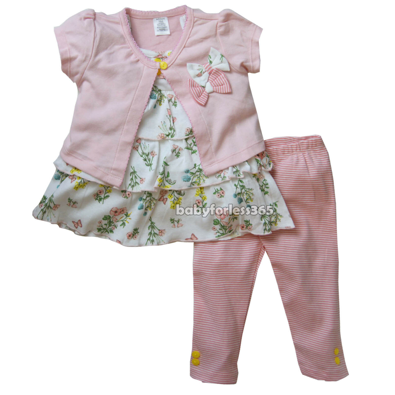 8d0eb40cc494c Details about New Ashley's Baby Girls 3 pieces Cardigan Shirt Legging Size  12 18 24 months