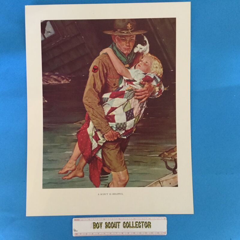 """Boy Scout Norman Rockwell Print 11""""x14"""" A Scout Is Helpful"""