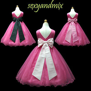 Similiar Black And Pink Flower Girl Dresses Keywords