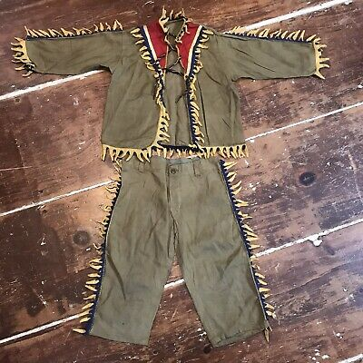 Toddler Nativity Costumes (Vintage Native American Indian Costume Toddler 5T Cotton & Wool Felt 1930s)