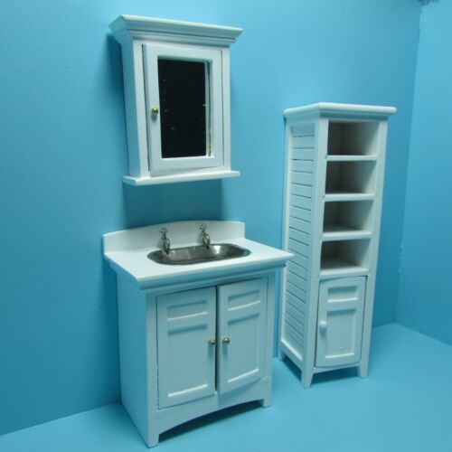 Dollhouse Miniature Wood Bathroom Medicine Cabinet with Mirror White CLA10993