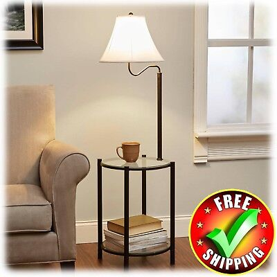 Glass End Table w/Lamp Contemporary Metal Modern Round Top Living Room Furniture