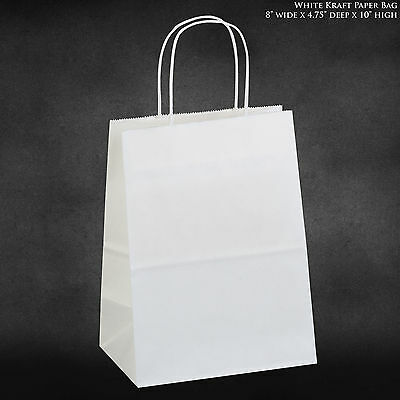 8x4.75x10.5 White Kraft Paper Bags Shopping Merchandise Party Gift Bags